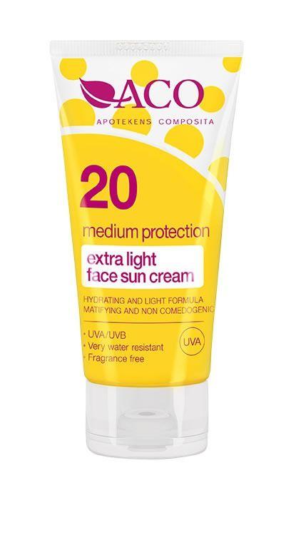 ACO Extra Light Face Sun Cream Spf 20 50ml